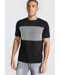BoohooMAN Jacquard Panel T-shirt - Black