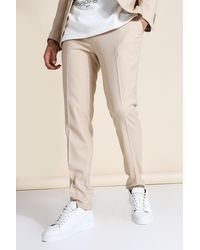 BoohooMAN Skinny Textured Suit Trousers - Natural