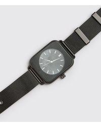 BoohooMAN MAN Uhr mit eckigem Zifferblatt und Uhrenband aus Netzstoff - Schwarz