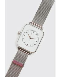 BoohooMAN Man Square Face Watch With Mesh Strap - Metallic