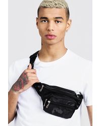 BoohooMAN Camo Nylon Bag - Black