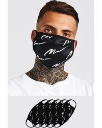 BoohooMAN 5 Pack Man Script Fashion Masks - Black