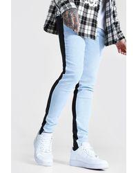 BoohooMAN Skinny Stretch Contrast Jeans - Bleu
