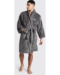 BoohooMAN Man Signature Fleece-Morgenmantel - Grau
