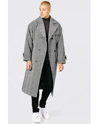 BoohooMAN Zweireihiger Mantel mit Fischgräten-Muster - Grau