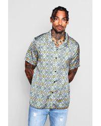 BoohooMAN - Aztec Print Sateen Revere Shirt - Lyst