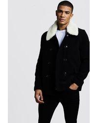 BoohooMAN Borg Collar Wool Blend Pea Coat - Black