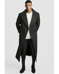 BoohooMAN Longline Oversized Double Breasted Overcoat - Black
