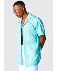 BoohooMAN Short Sleeve Revere Oversized Bandana Shirt - Vert