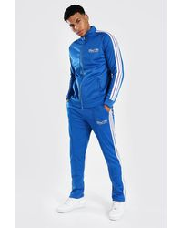 BoohooMAN Man Funnel Neck Tricot Tape Tracksuit - Blue