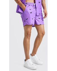 BoohooMAN Man Official Butterfly Print Short Swim Shorts - Purple