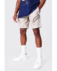 BoohooMAN Lockere Man Carog-Shorts mit Taschen und Reißverschluss - Blau
