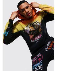BoohooMAN Tall Hoodie in Übergröße mit Batik-Muster und Skull-Print - Orange