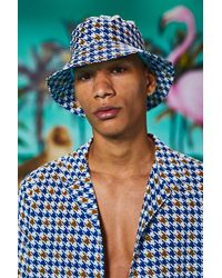 BoohooMAN Dogtooth Print Bucket Hat - Bleu