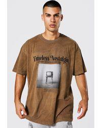 BoohooMAN Oversize Frottee T-Shirt mit Print - Braun