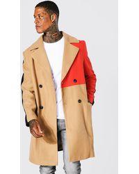 BoohooMAN Zweireihiger Colorblock Mantel - Mehrfarbig