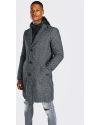 BoohooMAN Overcoat With Zip Through Hooded Puffer - Gray