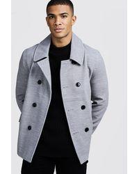 BoohooMAN Classic Wool Look Pea Coat - Gray