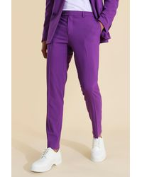 BoohooMAN Skinny Purple Suit Trousers - Lila