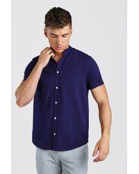 BoohooMAN Short Sleeve Grandad Jersey Shirt - Blau