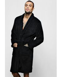 549647f5bed9 Boohoo - Collared Fleece Robe With Pockets - Lyst
