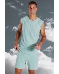 BoohooMAN MAN Active leichtes, meliertes Sport-vesttop, Tall Size - Blau