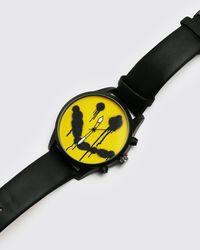 BoohooMAN Montre à cadran graffiti - Noir