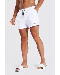BoohooMAN Recycled Original Man Short Length Swim Short - White