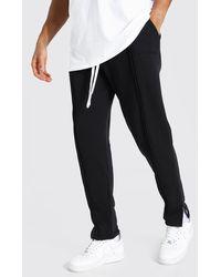 BoohooMAN Loose Fit Man Official Split Hem Sweatpants - Black