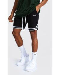 BoohooMAN Offcl Basketball Jersey Shorts With Tape - Black