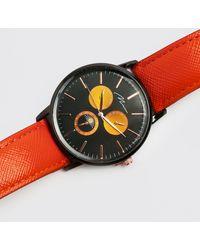 BoohooMAN Montre style sport à bracelet en similicuir - Orange