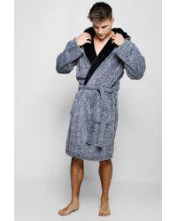 Boohoo Mens Shaggy Fleece Dressing Gown - Blue