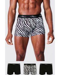 BoohooMAN 3 Pack Man Signature Zebra Print Classic Trunks - Noir
