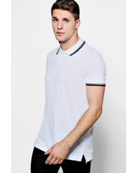 Boohoo - Short Sleeve Pique Polo With Tipping Detail - Lyst