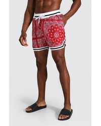 BoohooMAN Mid Length Bandana Basketball Swim Short - Red