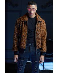 BoohooMAN Premium Faux Fur Leopard Collared Bomber - Brown