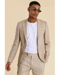 BoohooMAN Linen Single Breasted Suit Jacket - Mehrfarbig
