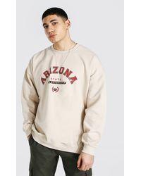 BoohooMAN Oversize Sweatshirt mit Arizona-Print - Natur