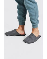 BoohooMAN Velour Slipper - Grey
