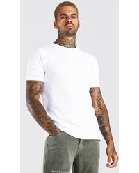BoohooMAN Crew Neck T-shirt With Rolled Sleeves - White