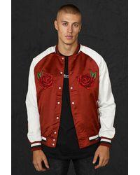 BoohooMAN Satin Souvenir-Jacke mit Rose - Rot