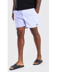 BoohooMAN Plus Size Man Colour Block Mid Swim Short - White