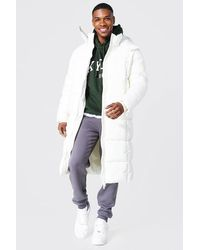 BoohooMAN Recycled Longline Duvet Puffer With Zips - White