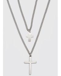 BoohooMAN Double Layer Cross Pendant Necklace - Metallic