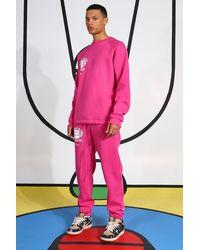 BoohooMAN Tall Trainingsanzug mit verlängertem Kragen - Pink