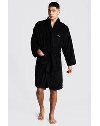 BoohooMAN Man Signature Fleece Dressing Gown - Black