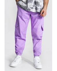 BoohooMAN Twill Cargo Trouser - Lila