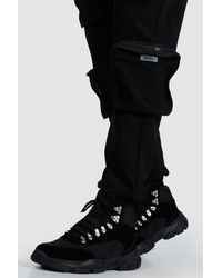 BoohooMAN Bottes style randonnée à semelle épaisse - Noir