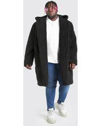 BoohooMAN Plus Size Borg Hooded Duffle Coat - Black