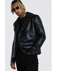 BoohooMAN Studded Moto Jacket Faux Leather - Black